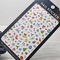 Слайдер дизайн, наклейки для ногтей новый год, снежинки, зима, дед мороз, олени, елочка №280