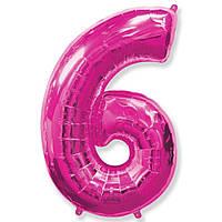 """Фольгований куля цифра """"6"""" Flexmetal Фуксія 14"""" 36 см"""