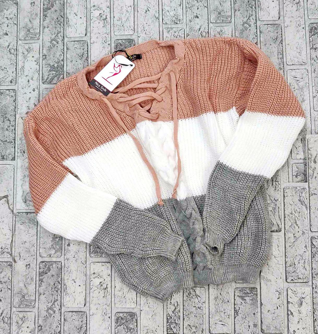 Модный женский свитер со шнуровкой 42-46 (в расцветках)