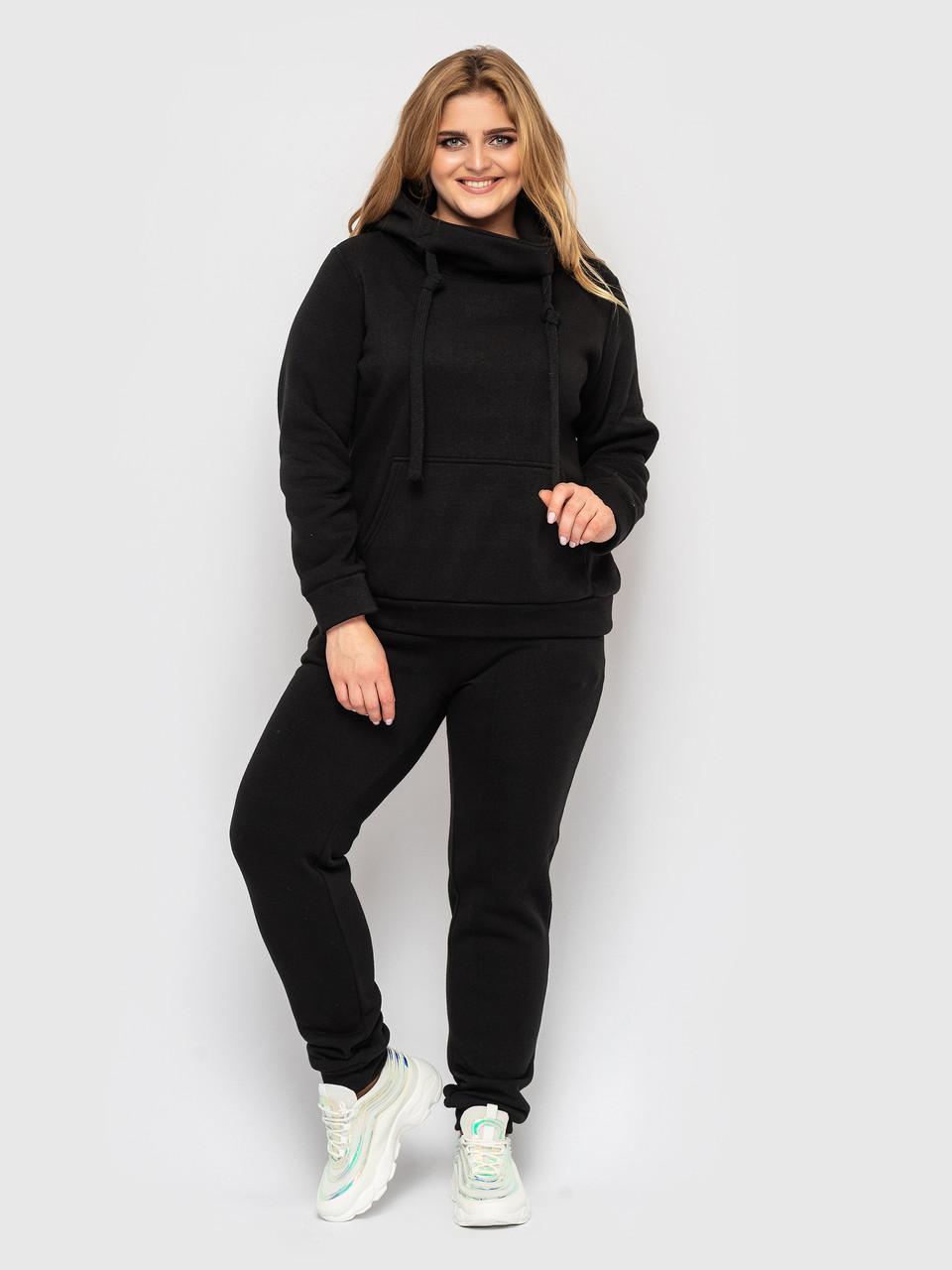 Спортивный костюм женский батал с худи черный
