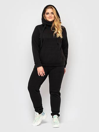 Спортивный костюм женский батал с худи черный, фото 2