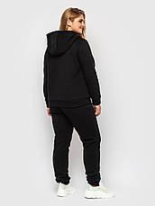 Спортивный костюм женский батал с худи черный, фото 3