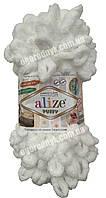 Турецкая пряжа для вязания Alize Puffy (Пуффи) пряжа вяжется руками цвет 55 белый