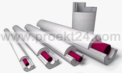 Пенопластовая скорлупа Ø34/50 утеплитель для труб (тип Б)