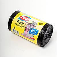 """Мешки (пакеты) для мусора полиэтиленовый (мусорный пакет) Top Pack® 60л 100шт/рулон С """"УШАМИ"""" (ручки) черный"""