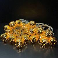 Новогодняя гирлянда, шарики, цвет шарика золото 20LED теплый белый