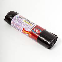 Мешки (пакеты) для мусора полиэтиленовый с затяжкой (мусорный пакет) Top Pack® ЭКОНОМ 35л 15шт/рулон черный, фото 1