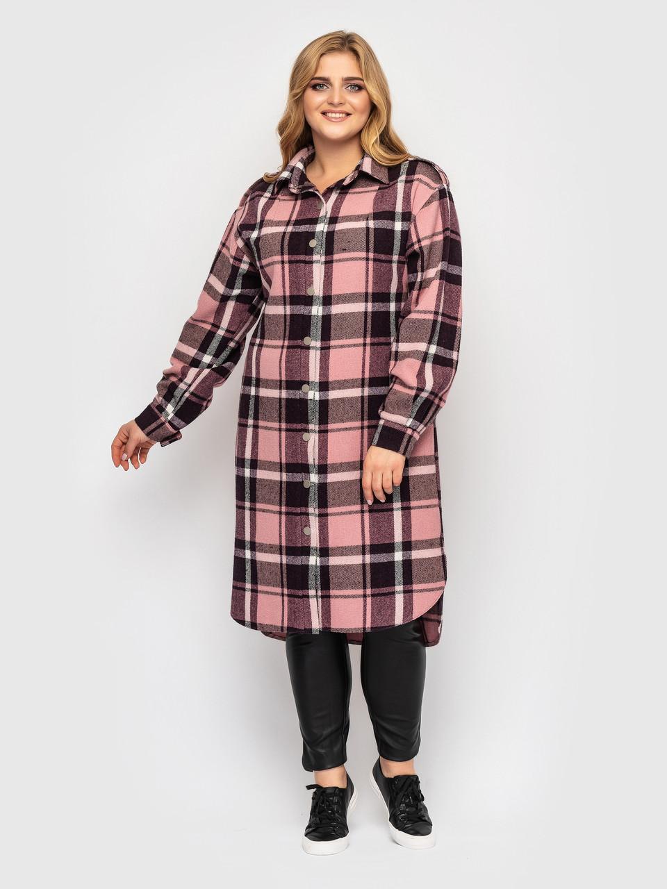 Жіноча сорочка в клітку великі розміри рожева