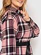 Женская рубашка в клетку большие размеры розовая, фото 3