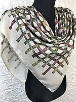 Турецкий бежевый платок в клеточку из хлопка