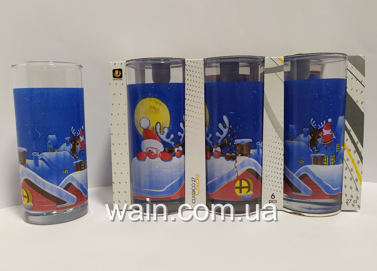 Набор новогодних стеклянных стаканов 6 шт 270 мл для сока, воды, молока Classico Santa & Rudolf Night UniGlass
