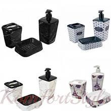 Набор 3 предмета  (дозатор для жид. мыла, мыльница, для щеток ) рисунки в ассортименте