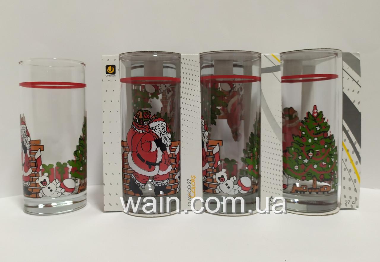 Набор новогодних стеклянных стаканов 6 шт 270 мл для сока, воды, молока Christmas Santa Claus UniGlass