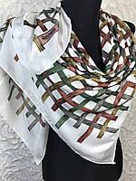 Женский хлопковый молочно-белый платок в яркую клетку - купить на Kosinka.net