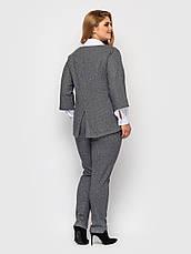 Офісний костюм батал стильний з брюками темно-сірий, фото 2