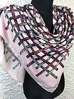 Женский хлопковый розовый платок большого размера