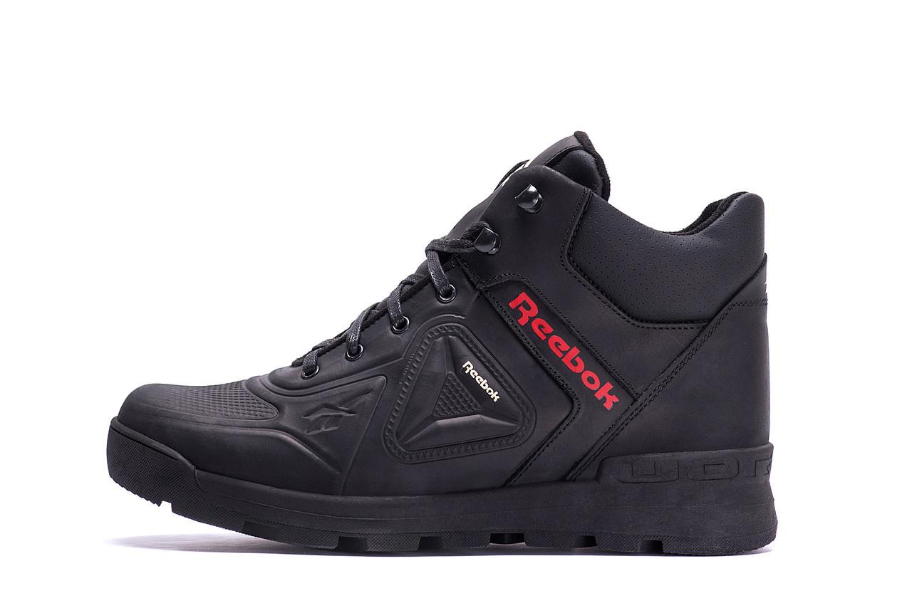 Чоловічі зимові шкіряні черевики ZG Black Red Premium Quality р.