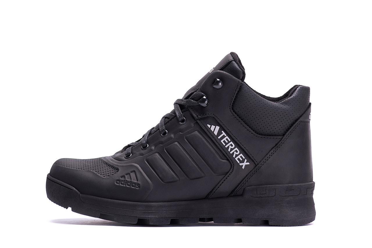Чоловічі зимові шкіряні черевики Adidas Black leather р.