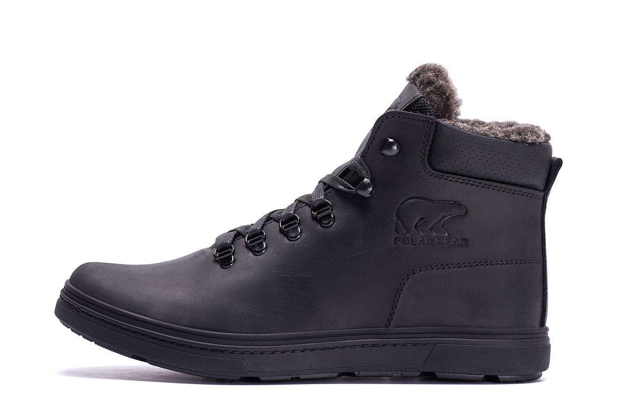 Мужские зимние кожаные ботинки Polar Bear Black leather р. 45