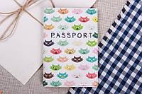 Обложка на паспорт Кошки  Экокожа / Обложка на Паспорт 14x9 см