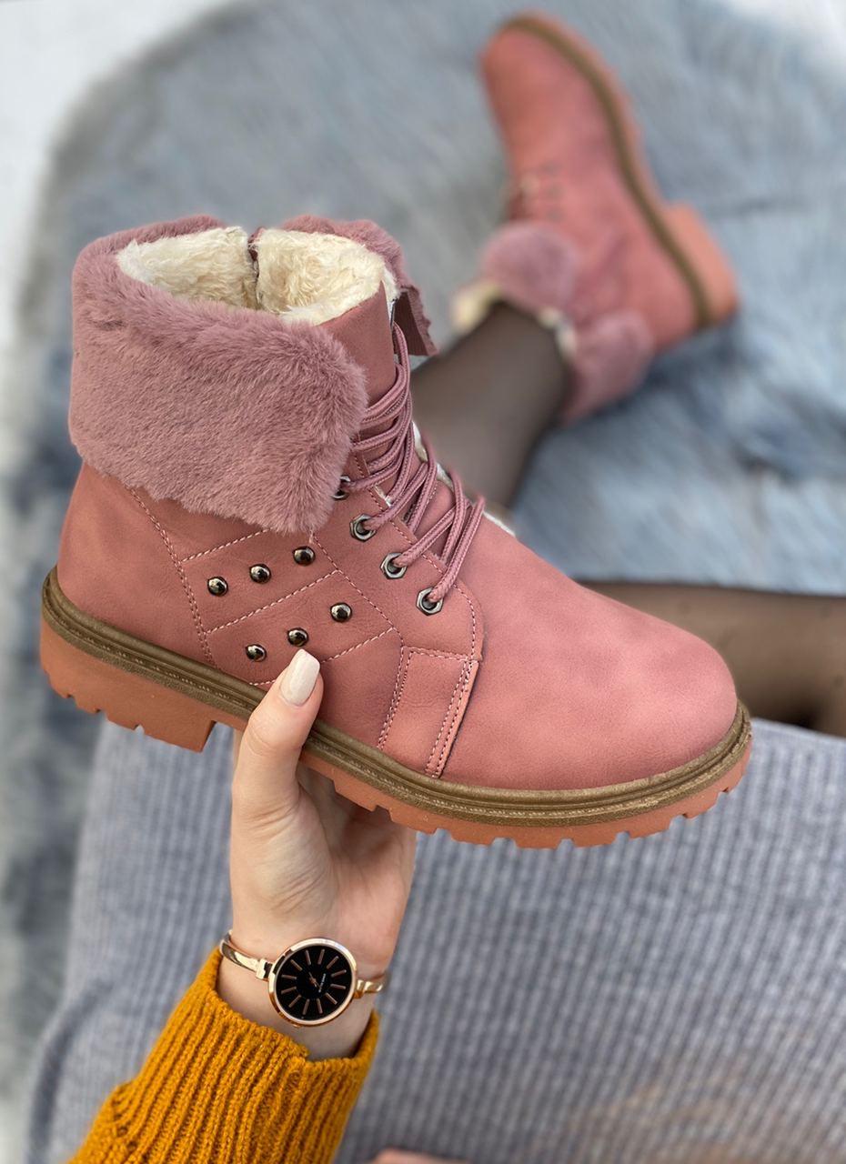 Ботинки женские зимние 8 пар в ящике розового цвета 36-41
