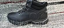 Мужские зимние кожаные ботинки черного цвета. Размеры 40-45.