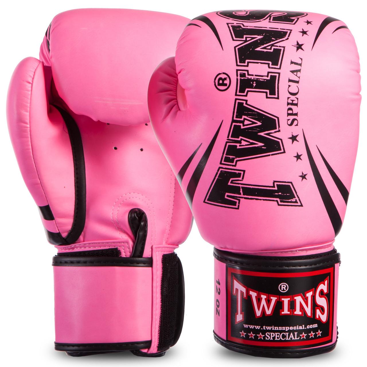 Перчатки боксерские TWINS розовые PU на липучке FBGVSD3-TW6, 10 унций