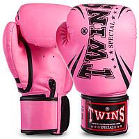 Перчатки боксерские TWINS розовые PU на липучке FBGVSD3-TW6, 10 унций, фото 1