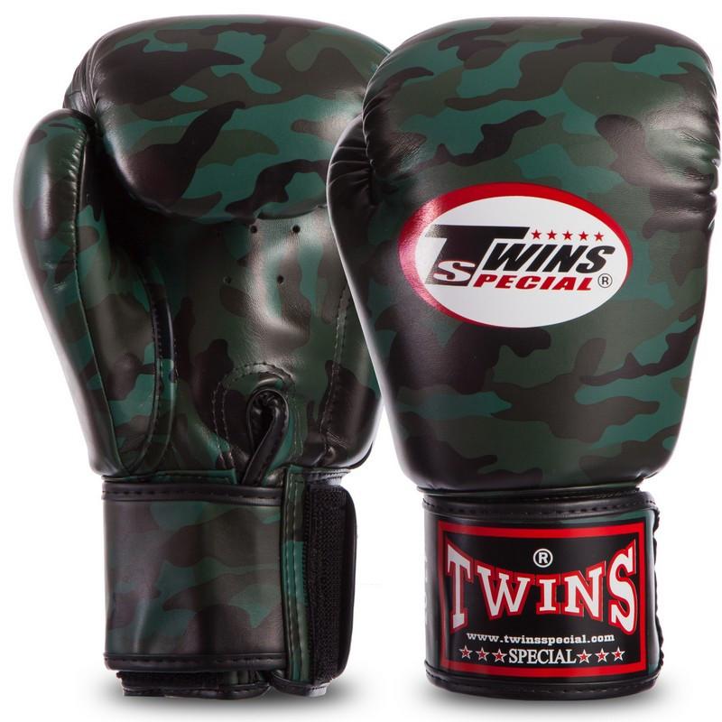 Бокерские перчатки TWINS FBGVS3-ML камужляж темно-зеленый PU на липучке, 12 унций
