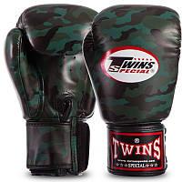 Бокерские перчатки TWINS FBGVS3-ML камужляж темно-зеленый PU на липучке, 12 унций, фото 1