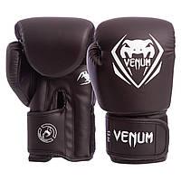 Боксерские перчатки на липучке VENUM PU BO-8353-BK, 12 унций, фото 1