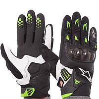 Мотоперчатки кожаные Alpinestars черно-белые M10-B (реплика) L