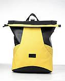 Вместительный женский рюкзак роллтоп из эко-кожи городской, для поездок, ноутбука, черный-желтый, фото 10