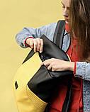 Вместительный женский рюкзак роллтоп из эко-кожи городской, для поездок, ноутбука, черный-желтый, фото 6