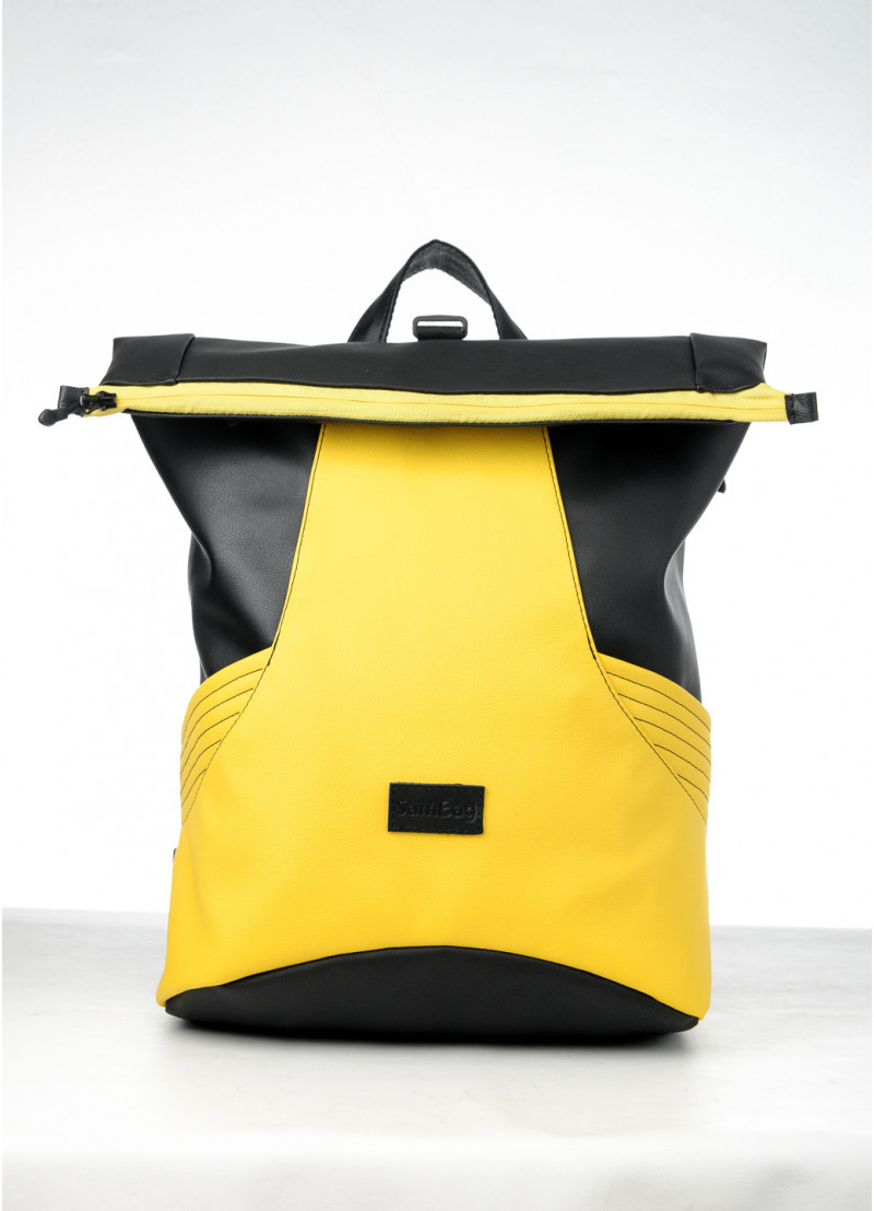 Вместительный женский рюкзак роллтоп из эко-кожи городской, для поездок, ноутбука, черный-желтый