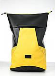 Вместительный женский рюкзак роллтоп из эко-кожи городской, для поездок, ноутбука, черный-желтый, фото 2