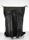 Вместительный женский рюкзак роллтоп из эко-кожи городской, для поездок, ноутбука, черный-желтый, фото 3