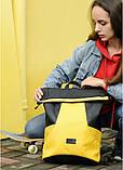 Вместительный женский рюкзак роллтоп из эко-кожи городской, для поездок, ноутбука, черный-желтый, фото 4