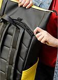 Вместительный женский рюкзак роллтоп из эко-кожи городской, для поездок, ноутбука, черный-желтый, фото 7