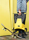 Вместительный женский рюкзак роллтоп из эко-кожи городской, для поездок, ноутбука, черный-желтый, фото 5