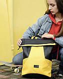 Вместительный женский рюкзак роллтоп из эко-кожи городской, для поездок, ноутбука, черный-желтый, фото 9