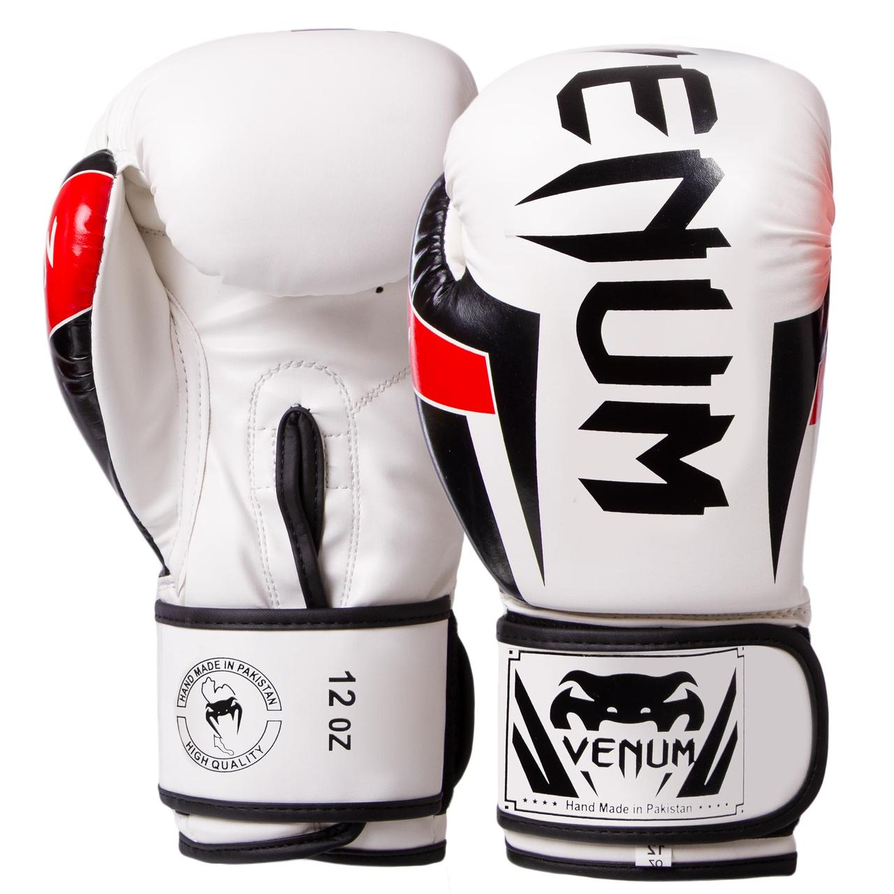 Перчатки боксерские FLEX на липучке белые VENUM ELITE BO-5338, 10 унций