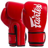 Перчатки боксерские PU на липучке красные FAIRTEX BGV14, 10 унций
