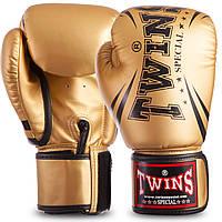 Боксерские перчатки золотые TWINS PU на липучке FBGVSD3-TW6, 14 унций
