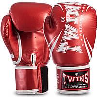 Перчатки для бокса TWINS PU на липучке красный металик FBGVSD3-TW6, 12 унций