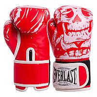 Боксерские перчатки EVERLAST SKULL FLEX на липучке красные BO-5493, 12 унций