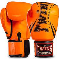 Боксерские для бокса TWINS оранжевые PU на липучке FBGVSD3-TW6, 12 унций