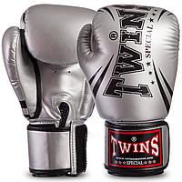 Перчатки TWINS для бокса PU на липучке серебряные FBGVSD3-TW6, 14 унций