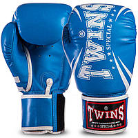 Боксерские перчатки TWINS PU на липучке синие FBGVSD3-TW6, 16 унций