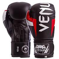 Перчатки боксерские черные c красным VENUM ELITE FLEX на липучке BO-5338, 12 унций